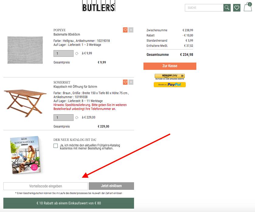 butlers vorteilscode